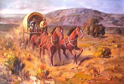 Working Cowboy Painting - Covered Wagon by Parsons