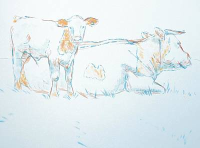 Drawing - Cow And Calf Drawing by Mike Jory