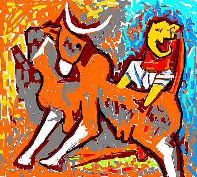 Digital Art - Cow And Ganesha by Anand Swaroop Manchiraju