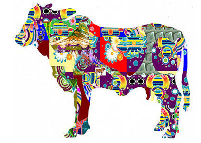 Painting - Cow Animal Art Painted Patchwork   Navinjoshi Rights Managed Images Graphic Design Is A Strategic Ar by Navin Joshi
