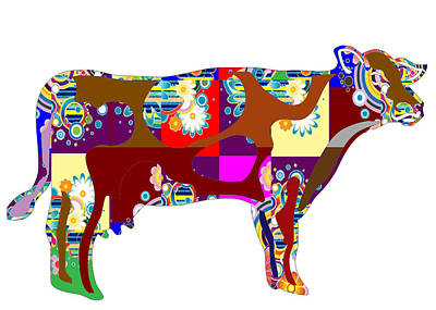 Painting - Cow Animal Domestic Artistic Painted Patchwork  Art Navinjoshi  Rights Managed Images Graphic Design by Navin Joshi