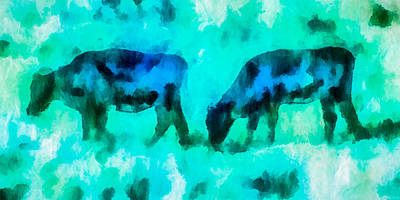 Mixed Media - Cow Art - Grazing In Fields Of Turquoise by Priya Ghose