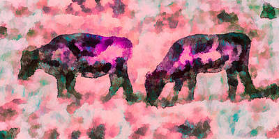 Cow Mixed Media - Cow Art - Grazing In Profile  by Priya Ghose