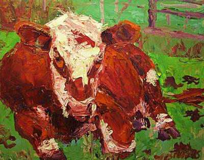 Cattle Painting - COW by Brian Simons