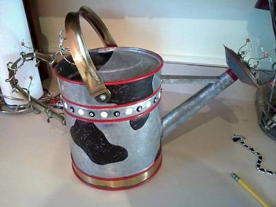 Watering Can Mixed Media - Cow Can by Elizabeth Dotson