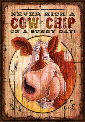 Cow Chip Art Print by JQ Licensing