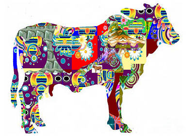 Painting - Cow Domestic Animal  Artistic Painted Patchwork  Navinjoshi  Rights Managed Images Graphic Design Is by Navin Joshi