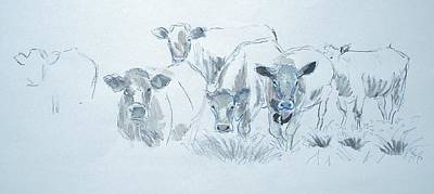Goat Painting - Cow Drawing by Mike Jory