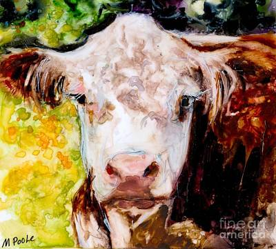 Hereford Painting - Cow Face by Molly Poole