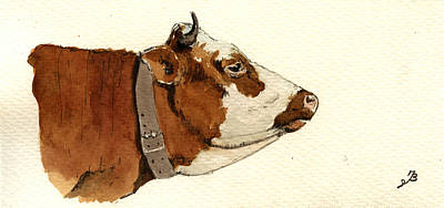 Horned Animals Painting - Cow Head Study Drawing by Juan  Bosco
