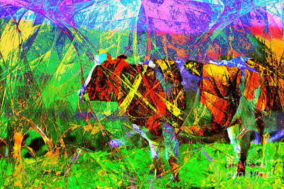 Backroad Digital Art - Cow In Abstract 7d4316 by Wingsdomain Art and Photography