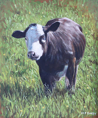 Painting - Cow In Grass by Martin Davey