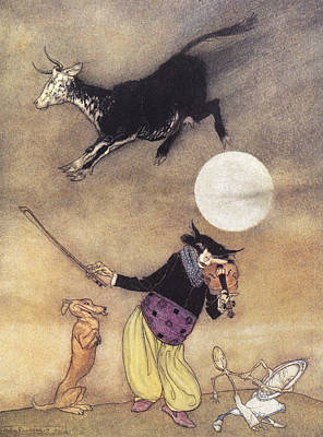 Cow Jumped Over The Moon Art Print