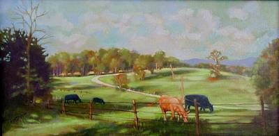 Painting - Cow Landscape by Janet McGrath