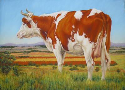 Art Print featuring the painting Cow On The Lookout by Margaret Stockdale