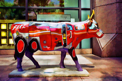 Photograph - Cow Parade N Y C 2000 - Four Alarm Cow by Allen Beatty