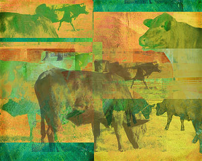 Rural Scenes Digital Art - Cow Pasture Collage by Ann Powell