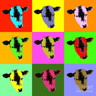 Digital Art - Cow Pop Art by Jean luc Comperat