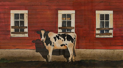 Steer Painting - Cow by Scott Hannaman