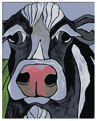 Retro Modern Painting - Cow by Shanni Welsh