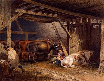 Cow Drawing - Cow Shed by Robert Hills