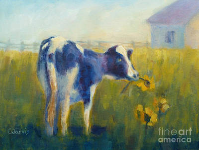 Painting - Cow With Sunflower by Carolyn Jarvis