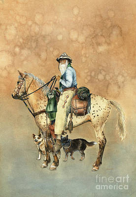 Cattle Dog Painting - Cowboy And Appaloosa by Nan Wright