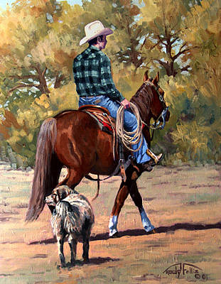 Lassoing Painting - Cowboy And Dog by Randy Follis