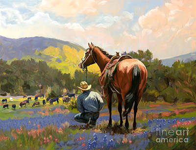 Painting - Cowboy And His Cows by Tim Gilliland
