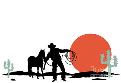 Sunset Digital Art - Cowboy And Hors Silhouettes by Trendywest