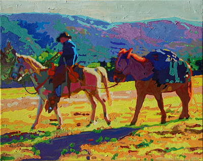 Cowboy And Pack Mule 2 Art Print