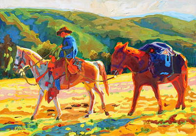 Painting - Cowboy Art Cowboy And Pack Horse Oil Painting Bertram Poole by Thomas Bertram POOLE