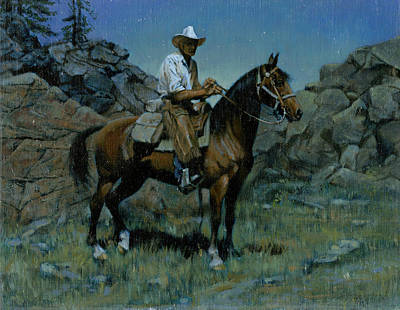 Trail Ride Painting - Cowboy Night Scene by Don  Langeneckert