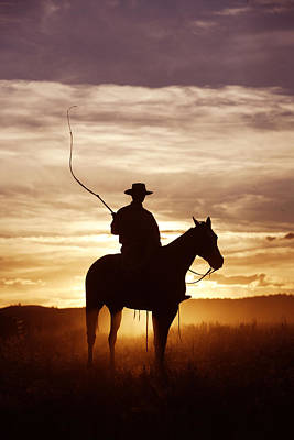 Working Cowboy Photograph - Cowboy At Sunset by M. Watson
