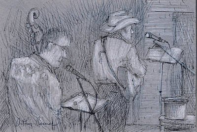 Musicians Drawings - Cowboy Band by Arthur Barnes