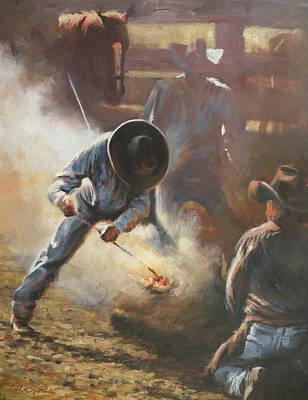 Art Of Mia Delode Painting - Cowboy Bar-code by Mia DeLode
