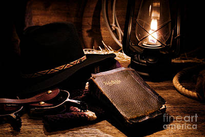 Old Western Photograph - Cowboy Bible by Olivier Le Queinec