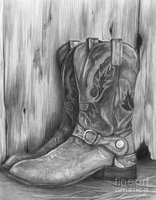 Drawing - Cowboy Boot Study by Meagan  Visser