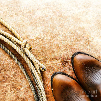Cowboy Boots And Lasso Art Print by Olivier Le Queinec