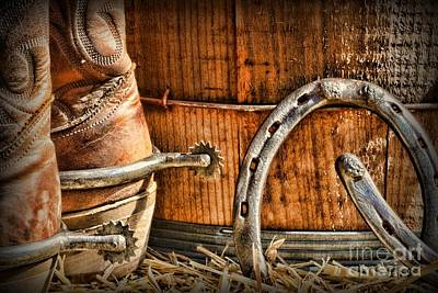 Wooden Barrel Photograph - Cowboy Boots And Spurs by Paul Ward
