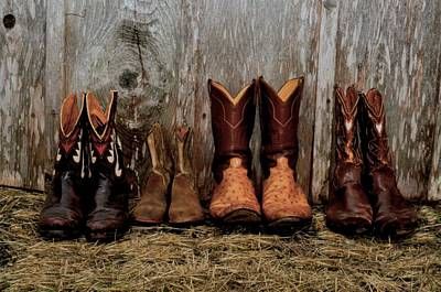 Mens Shoe Photograph - Cowboy Boots And Wood by Kristina Deane