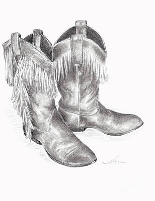 Drawing - Cowboy Boots In Black And White by Nan Wright