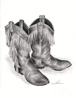 Drawing - Cowboy Boots by Nan Wright