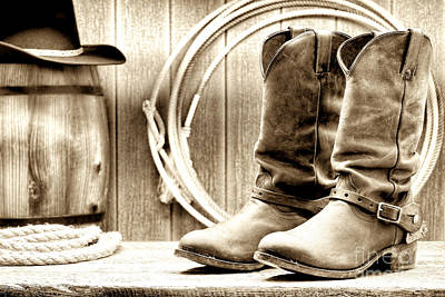 Vintage Barn Photograph - Cowboy Boots Outside Saloon by Olivier Le Queinec