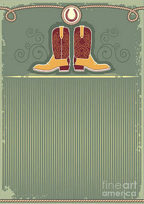 Rope Wall Art - Digital Art - Cowboy Boots.vintage Western Decor by Tancha