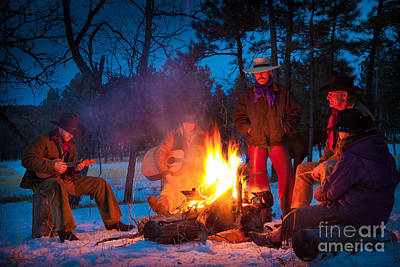 Cowboy Campfire Art Print by Inge Johnsson