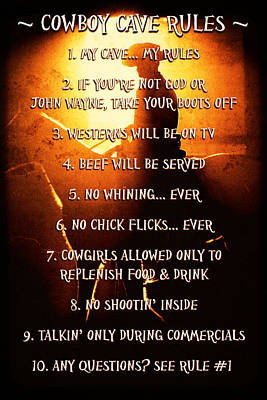 Cowboy Cave Rules By Lincoln Rogers Art Print