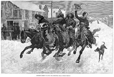 Cowboy Christmas, 1889 Art Print by Granger