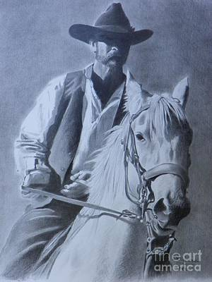Mango Drawing - Cowboy by David Ackerson
