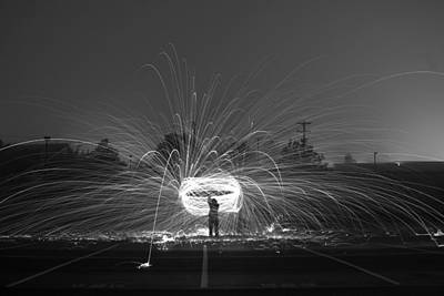 Bouncing Light Photograph - Cowboy Fire Lasso   # by Rob Luzier